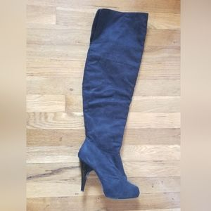 Dollhouse black over the knee faux suede boots